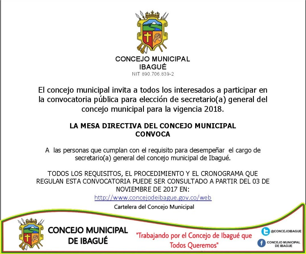 convocatoria secretario 2018